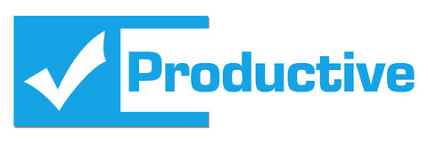 Productive Blue Abstract Bar. Productive concept image with text and check mark symbol Royalty Free Stock Photos