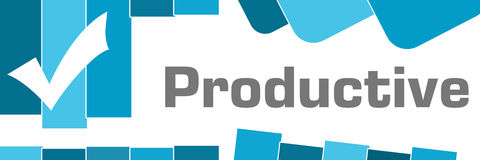 Productive Blue Abstract Shapes Background. Productive concept image with text and check mark symbol Stock Images