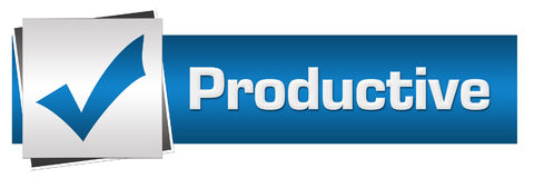 Productive Blue Grey Horizontal. Productive concept image with text and check mark symbol Royalty Free Stock Photo