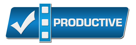 Productive Blue Separator Horizontal. Productive concept image with text and check mark symbol Stock Image