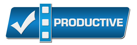 Productive Blue Separator Horizontal. Productive concept image with text and check mark symbol Stock Photos