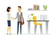 Productive business communication between colleagues - modern cartoon people characters illustration. Productive business communication - modern cartoon people Royalty Free Stock Photography