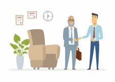 Productive business communication - modern cartoon people characters illustration. With a senior boss and a young employee smiling and shaking hands Royalty Free Stock Photos