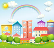 A productive city with high buildings. Illustration of a productive city with high buildings Royalty Free Stock Photo