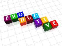 Productive in colour 2. 3d colour boxes with text - productive, word Royalty Free Stock Photo