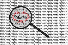 Productive concept. Magnifying glass look for productive, hand writing Stock Photos