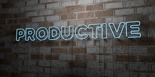 PRODUCTIVE - Glowing Neon Sign on stonework wall - 3D rendered royalty free stock illustration. Can be used for online banner ads and direct mailers Stock Photo