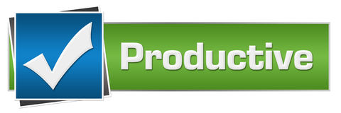 Productive Green Blue Horizontal. Productive concept image with text and check mark symbol Stock Photos