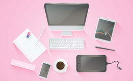 Productive office workplace. Creative office workplace. Icons set of business work flow items, elements and gadgets Stock Images