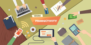 Productive office workplace. Productivity business strategy flat illustration. Royalty Free Stock Images