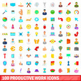 100 productive work icons set, cartoon style. 100 productive work icons set in cartoon style for any design vector illustration Royalty Free Stock Photo