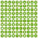 100 productiveness icons hexagon green. 100 productiveness icons set in green hexagon isolated vector illustration Royalty Free Illustration