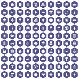 100 productiveness icons hexagon purple. 100 productiveness icons set in purple hexagon isolated vector illustration Stock Photo