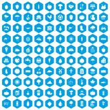 100 productiveness icons set blue. 100 productiveness icons set in blue hexagon isolated vector illustration vector illustration