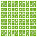 100 productiveness icons set grunge green. 100 productiveness icons set in grunge style green color isolated on white background vector illustration Royalty Free Stock Photo