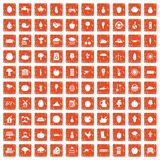 100 productiveness icons set grunge orange. 100 productiveness icons set in grunge style orange color isolated on white background vector illustration Royalty Free Stock Photo
