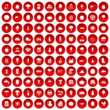 100 productiveness icons set red. 100 productiveness icons set in red circle isolated on white vector illustration Stock Image