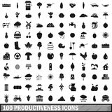 100 productiveness icons set, simple style. 100 productiveness icons set in simple style for any design vector illustration Royalty Free Stock Image