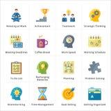 Productividad plana en los iconos del trabajo Fotos de archivo libres de regalías