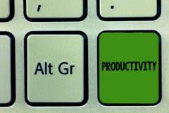 Productivité des textes d'écriture État de signification de concept ou qualité d'être succès productif d'efficacité photo libre de droits