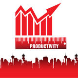 Productivity. Abstract colorful background with red productivity chart above a city. Productivity concept Royalty Free Stock Photography