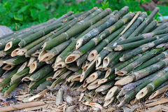 Productivity bamboo canes cut into pieces to hone sharp end . Royalty Free Stock Photo