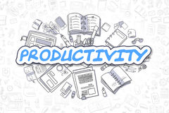 Productivity - Cartoon Blue Text. Business Concept. Royalty Free Stock Images