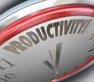 Productivity Clock Increase Efficiency Output More Done Less Tim. Productivity word on a clock to increase efficiency of output and get more done in less time Stock Photos