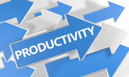 Productivity. 3d render concept with blue and white arrows flying over a white background Royalty Free Stock Photography