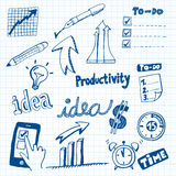 Productivity Doodles. Set of Productivity Doodles, Icons and Sketches Royalty Free Stock Photos