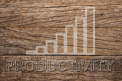 Productivity growth written on wooden background Royalty Free Stock Images
