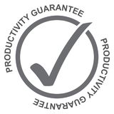Productivity guarantee. Gray circular ring containing a large gray tick with two copies of the text placed around the circle 'productivity guarantee' in Stock Photography
