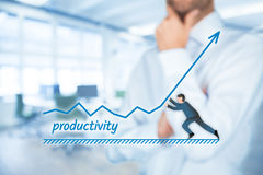 Productivity increase. Manager (businessman, coach, leadership) want to increase company productivity Royalty Free Stock Photos