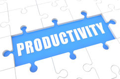 Productivity. Puzzle 3d render illustration with word on blue background Stock Photo
