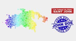 Spectral Assembly Saint John Island Map and Scratched John Doe Stamps. Productivity Saint John Island map and blue John Doe textured stamp. Spectrum gradient stock illustration
