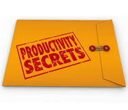 Productivity Secrets Yellow Envelope Tips Help Advice. Productivity Secrets words stamped on yellow envelope to give you advice, guidance, help or tips on Stock Photography
