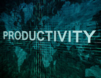 Productivity. Text concept on green digital world map background Royalty Free Stock Image