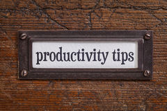 Productivity tips - file cabinet label Stock Photography