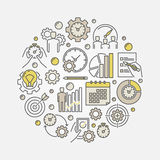 Productivity vector illustration. Productivity and time management illustration. Vector round colorful productivity creative symbol Royalty Free Stock Photo