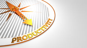 Productivity on White with Golden Compass. Royalty Free Stock Photography