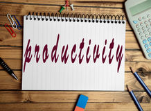 Productivity word on notebook Stock Photography
