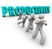 Productivity Word Pulled Lifted Workers Improve Increase Output. Productivity Word pulled up by workers lifting and cooperating together to achieve better or Stock Photos