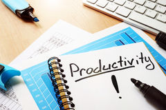 Productivity written in a note. Stock Images