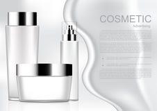 Producto cosmético blanco con crema y cosmético blanco co de la plantilla stock de ilustración