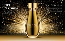Producto cosmético del diseño Maqueta realista de la botella del parfume de la mujer del oro en fondo del deslumbramiento Bokeh d Imagen de archivo libre de regalías