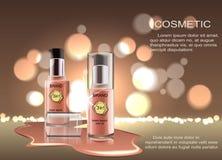 Producto cosmético, fundación, lápiz corrector, crema Producto cosmético, lápiz corrector, corrector, crema stock de ilustración