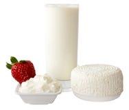 Producto de lechería con la fresa fotografía de archivo