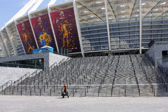 Producto de limpieza de discos en el estadio de Kiev en la época del EURO 2012 Fotografía de archivo