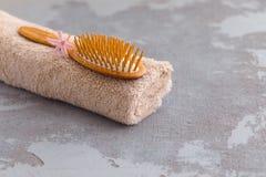 Producto derivado del petróleo del cuidado del balneario con el cepillo de pelo de bambú orgánico y una toalla fotografía de archivo libre de regalías