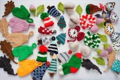 Producto hecho a mano, día de fiesta, ornamento que hace punto, la Navidad Imagen de archivo